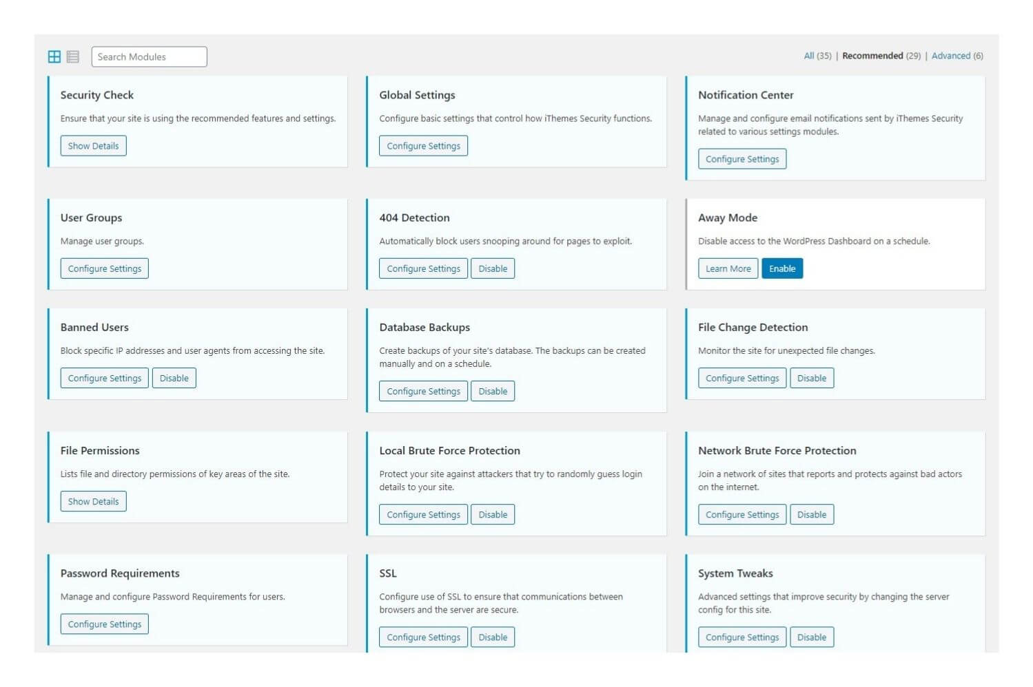 wordpress website security dashboard modules