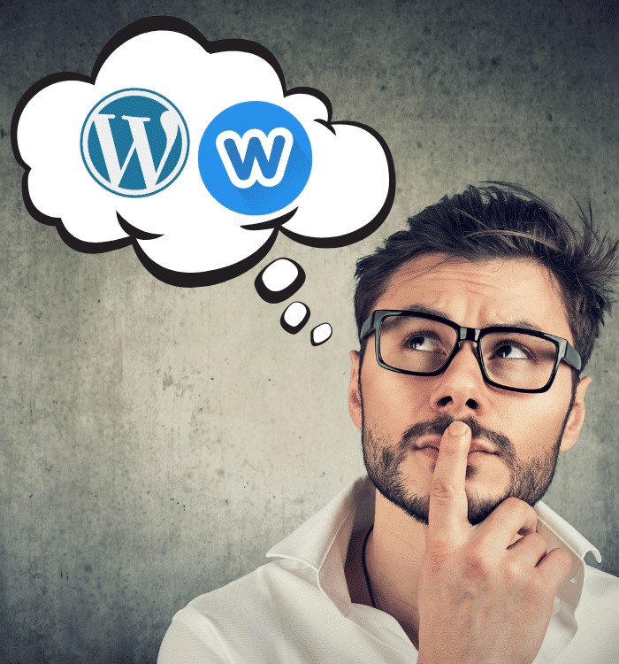 man thinking about wordpress or weebly websites
