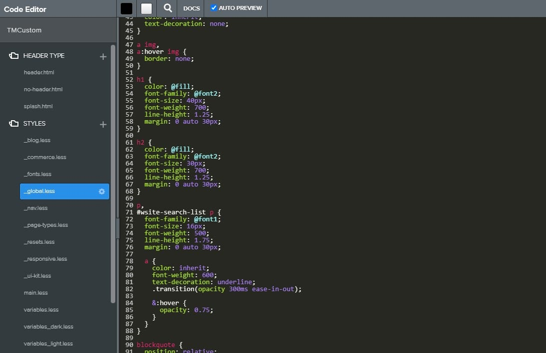 weebly css code editing